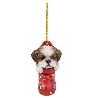 Shih Tzu Dog Puppy Festive Christmas Tree Hanging Ornament Resin Accessory