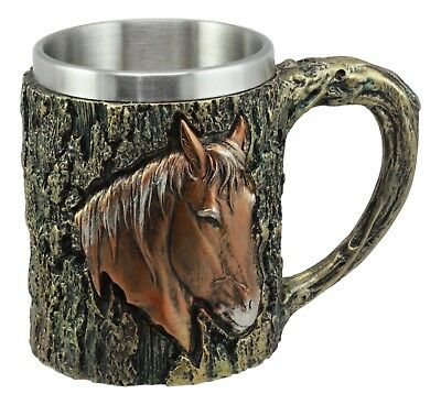 Bronzed Horse Coffee Mug With Rustic Tree Bark Resin Body Beverage Cup 12 Ounce
