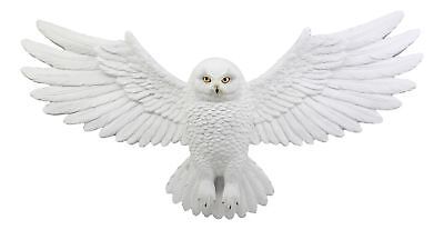 "Flying Snow Owl With Open Wings Wall Figurine Mount Decor Plaque 18.5""L Figurine"