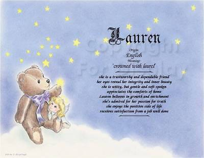 Teddy Bear Girl Angel personalized First Name Meaning Baby Shower Gift
