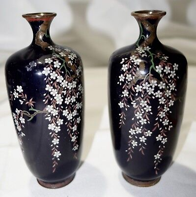 Vintage 1890 Ota Kichisaburo Wonderful Pair of Cloisonné Over Bronze Vases