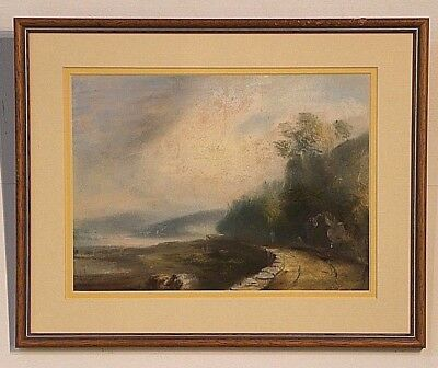 Antique gouache Painting of a lakeside river possibly Northern Tasmania Latrobe