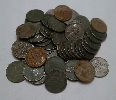 50 Steel Wheat Cents from unsearched Westmont Rolls