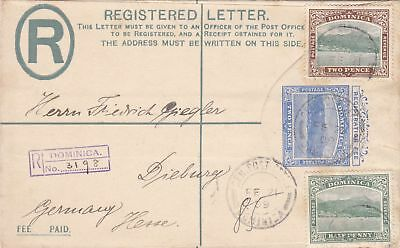 1909: Registered letter Dominica to Germany