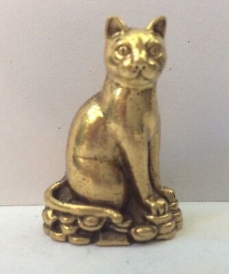 Statuette figurine bronze doré amulette animal CHAT DEBOUT Cambodge a2