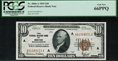 1929 $10 Federal Reserve Bank Note - Boston - FR.1860-A - PCGS 66PPQ - Gem New