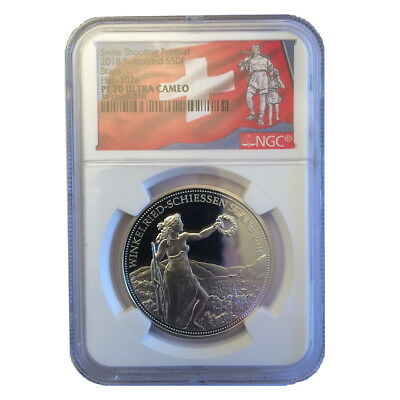 Switzerland 2018 Stans Shooting Thaler 50 Swiss Francs Silver NGC PF70 PR70 UC
