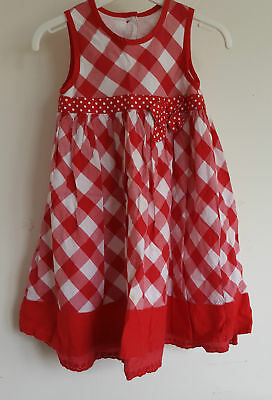 Enchanting Red & White Gingham Check Cotton Little Girls Dress Age 18-23 Months