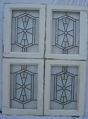 4 art deco leaded light stained glass window panels. R738b/c. WORLDWIDE DELIVERY