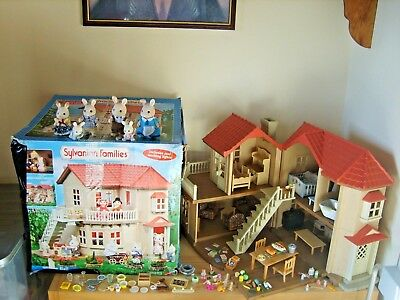 sylvanian families  boxed beechwood hall,accessories and family bundle