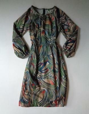 Vintage Brown Orange Blue Green White Peacock Style Print Dress Approx 4 6