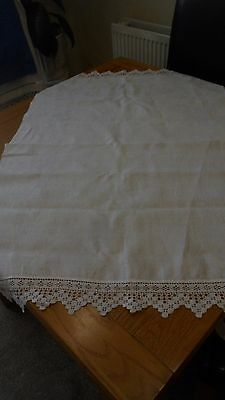 VINTAGE WHITE LINEN DAMASK SIDEBOARD/TABLE MAT RUNNER 38 x 26 in SM CROCHET EDGE