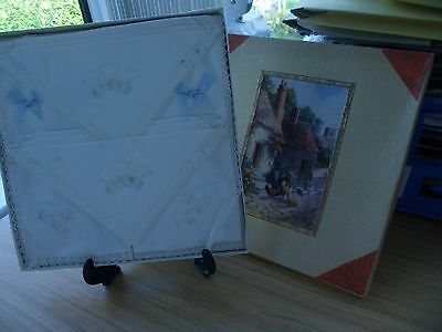 Rare Vintage Irish ? Linen Cotton Lace Embroidered Handkerchiefs 4 Boxed Set Nib