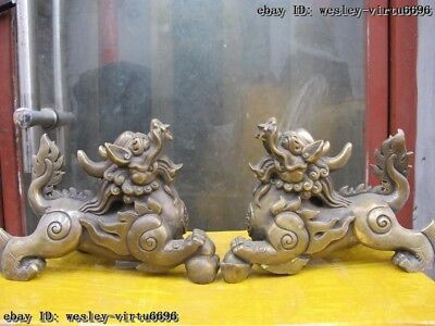Royal Copper Bronze Fengshui Yuanbao Foo Dog Lion Kylin Kilin Brave troops Pair