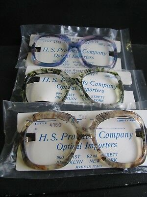 #125  Vintage Unused Store Stock Eyeglass Frames Lot Of 3 H.s. Products Co.