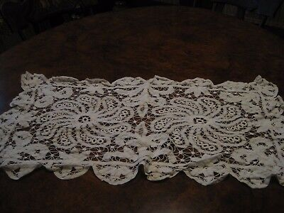 """Antique Lace Table Runner Hand Made 31 1/2"""" x 18 1/2"""""""