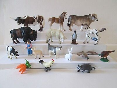 Lot 17 pc Farm Woodland Animals 7 Schleich Bull Long Horn foal Bison sheep