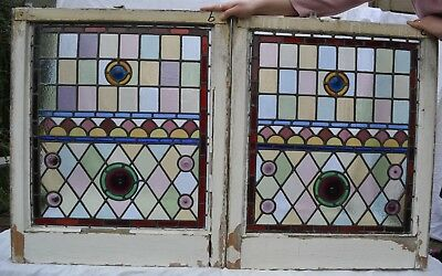 2 probably Victorian leaded light stained glass window panels. R703b/c. DELIVERY