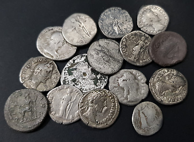Individual Identified Roman silver denarius coin from 100-200 AD (complete)
