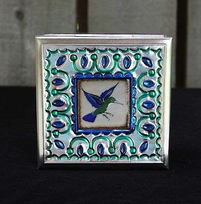 Lg Tin Box & Ceramic Tile of Hummingbird by Tirso Cuevas Mexican Folk Art Oaxaca