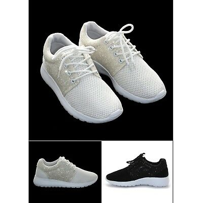 04f5b0c91639 Womens Ladies Half Glitter Sparkly Trainers Pumps Casual Shoes Girls Bling