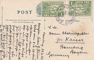 1927: Postcard Truro/New Guinea to Germany