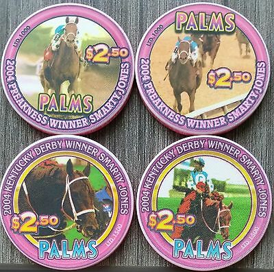 PALMS Las Vegas  (4)  $2.50 Chips Race Horse SMARTY JONES Limited & Uncirculated