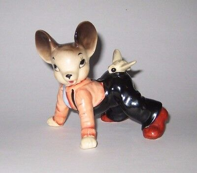 Anthropomorphic MR MOUSE w/BEE on BOTTOM Vintage JAPAN Pottery FIGURINE