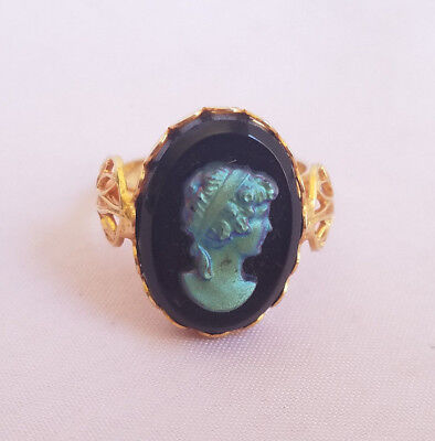Vintage Iridescent Glass Cameo Gold Tone Adjustable Ring Black Blue Victorian