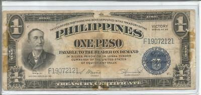 """Philippines Under US Rule, """"VICTORY"""" Note, 1 Peso, Series 66"""