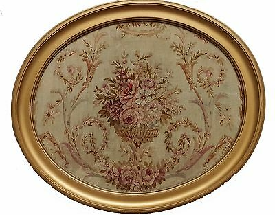 A Framed Oval Silk Tapestry with Bouquet of Flowers