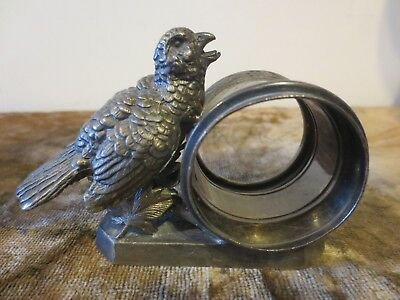 antique LARGE BIRD ON BRANCH Quadruple plate  napkin ring/holder