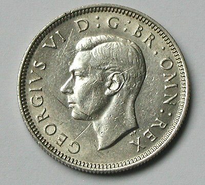 1945 UK (British) George VI 0.500 Silver Coin - One Shilling - lustre/scratches