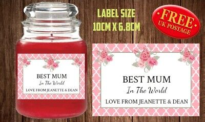 Personalised Mothers Day Candle Label Sticker Perfect Birthday Gift Idea