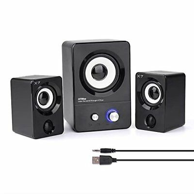 USB Powered Computer Speakers With Subwoofer System PC Laptop 2.1 Black Stereo