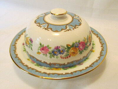 Crown Staffordshire LYRIC TUNIS BLUE Mini Round Covered Butter Dish wLid REDUCED