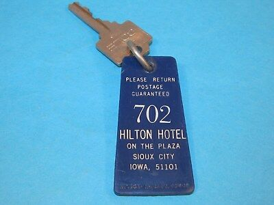 Vintage HILTON HOTEL on the Plaza Sioux City Iowa Room Key Fob Tag # 702