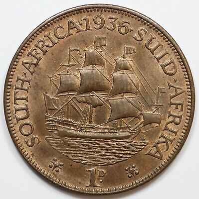 South Africa 1936 Penny, Choice Uncirculated with plenty of colour