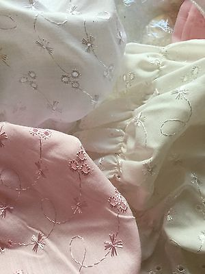 Baby Girl Sun Hat Bonnet Newborn 6 Months White Pink Ivory Broderie Anglaise