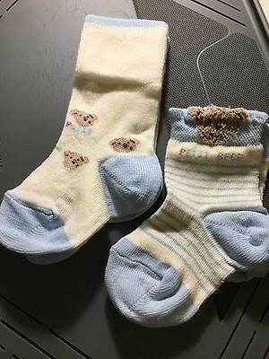 Pack of Two Socks 0-2.5 Baby Boys Blue & Cream Teddy Bear Quality Party Holiday