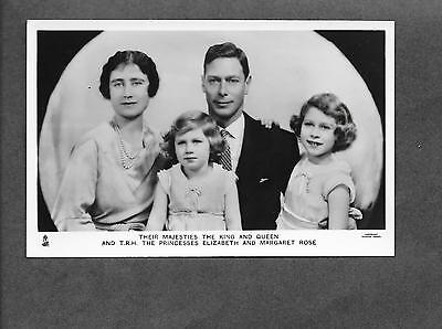 Vintage Their Majesties The King & Queen w/ Elizabeth & Margaret Rose Tuck RPPC