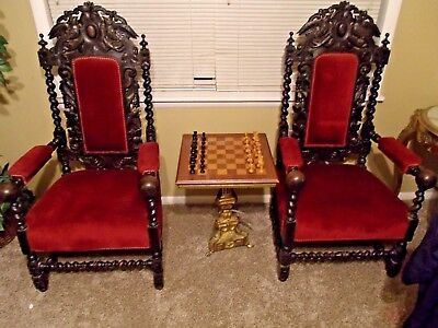 Pair of Signature Highly Carved French Barley Twist Arm Throne Hunt Chairs 1800s