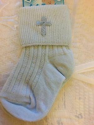 Christening Socks New Baby Boy Pale Blue with Cross Quality 0-3 3-6 6-12 12-18