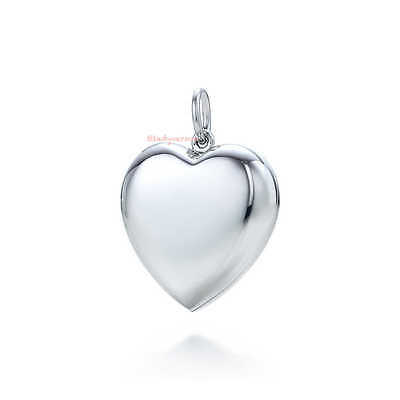 """Used+RECEIPT Tiffany & Co. Heart Pendent Locket Puffy Med 1.5"""" Sterling Silver"""
