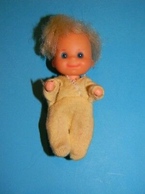 Vintage 1973 Sunshine Family Baby Sweets Doll in Yellow Sleeper Barbie Baby Sits