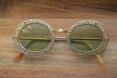 Ornate Antique Glasses 1940s 1950s Vintage Gold Plated Green Lenses Seashell