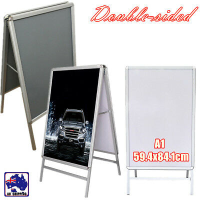 A1 Double Sided Frame Display Snap Board Advertising Poster Stand White WRA0000