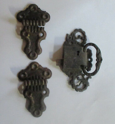 Antique Icebox Hinges and Latch Grand Rapids Brass