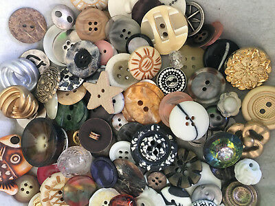 RARE LOT!  100 pc MIXED LOT of OLD-VINTAGE & NEW Buttons ALL TYPES & SIZES