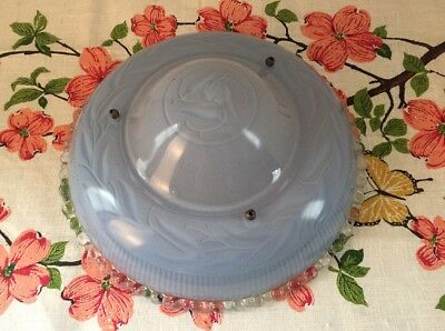 Vintage Blue & Clear Frosted Glass 3 Chain Ceiling Light Fixture Lamp Shade